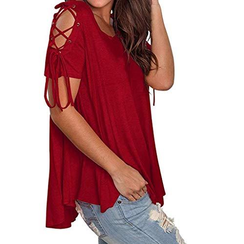 Longra Tops Damen Cold Shoulder Tops Kurzarm Bluse Rundhals Oberteil Einfarbig Sommer Shirt Sexy Tank top Cold One Cross Shoulder Freizeithemd -