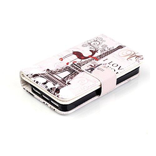 iPhone 5S Coque, iPhone SE Coque, Lifeturt [ Pivoine ] Leather Case Wallet Flip Protective Cover Protector, Etui de Protection PU Cuir Portefeuille Coque Housse Case Cover Coquille Couverture avec Fon E02-Cerf Tour