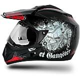 Vega Off Road Gangster GORDVBR1 Helmet (Black and Red, M)