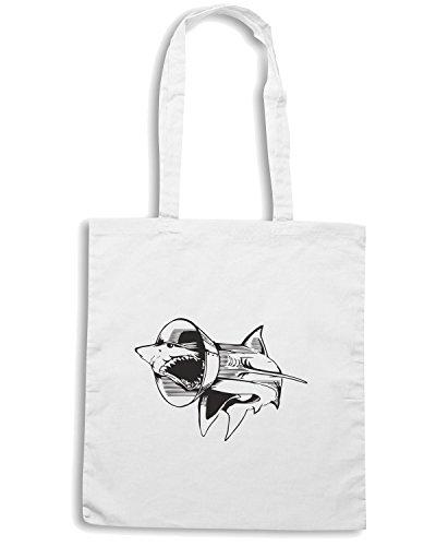 T-Shirtshock - Borsa Shopping FUN0099 04 28 2013 Sharky Boy Flashback T SHIRT det Bianco