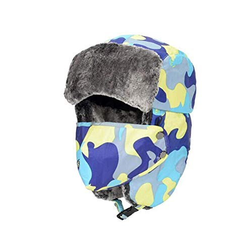 Hals Ohrenklappen (YDS SHOP Hüte Kinder Erwachsene Winddichte Maske Trapper Unisex Ohrenklappe Kinnriemen Atmungsaktive Gesichtsmaske (Color : Yellow, Size : Adult))