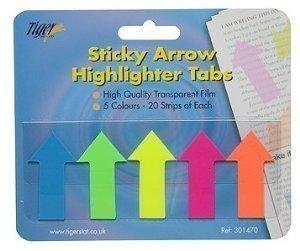 Adhesiva de tigre Flecha Highlighter pestañas banderas para revisión investigación–Pack de 12