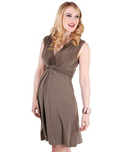 9354-MOC-16: Schwangerschaftskleid Wickelkleid mit Raffung Knoten Schleife (Mokka, Gr.44)