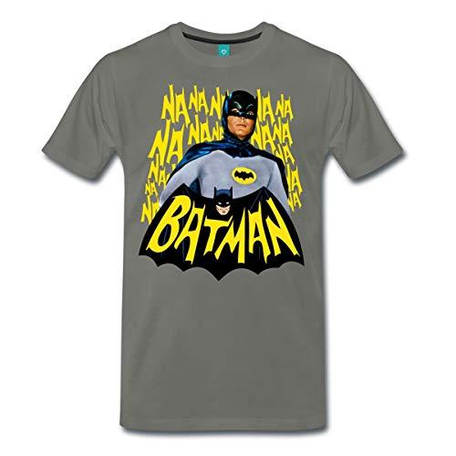Spreadshirt DC Comics Batman Retro Schauspieler Titelsong Männer Premium T-Shirt, M, Asphalt