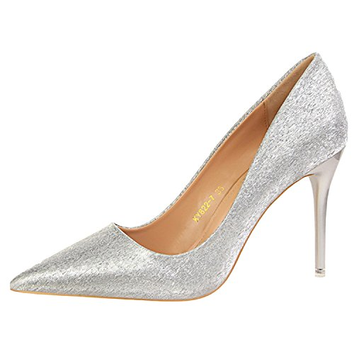 Oasap Women's Pointed Toe Stiletto Heels Giltter Slip-on Pumps silver