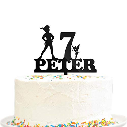 Kuchendekoration Happy Birthday Party Never Grow Up Pan Custom Name Age Lost Boys Peter Pan Party Dekoration Schwarz Acryl