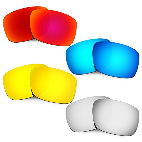 4eb1b8b8d3a Hkuco Mens Replacement Lenses For Oakley Drop Point Red Blue 24K  Gold Titanium