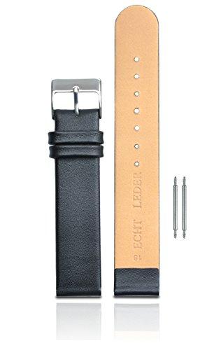 Clarkwatches Uhrenarmband 18mm Leder schwarz glatt - inkl. Federsteg Schnellverschluss