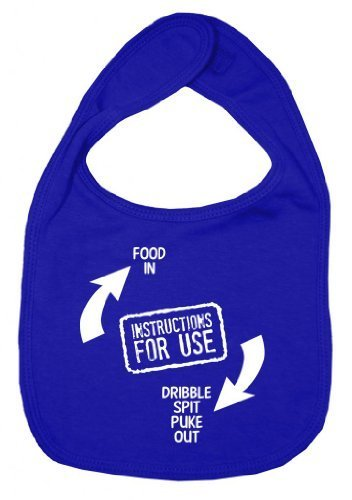 Dirty Fingers, Instructions for use, Boy Girl Feeding Bib, Royal Blue by Dirty Fingers