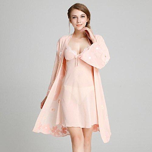 LJ&L Frau dünne Models sexy V-Ausschnitt bestickt atmungsaktiv und komfortabel Geschirr / Pyjamas / piece Pyjamas zu Hause,white,XL Pink