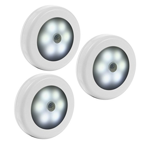 Litake Motion-Sensing Battery Powered LED, 4.5V Stick-on Nightlight (White) - 3 Pack