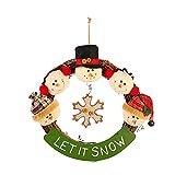 LYFWL Weihnachtsverzierungen Rustikales Holz Cane Weihnachtsschmuck Verziert Schneemann Elchkopf Puppe Weihnachtsmann Weihnachtskranz Peddigrohr Schneemann Ring Ring