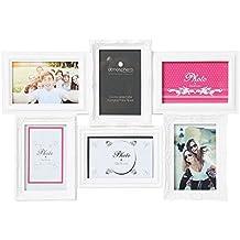 Portarretratos collage color blanco capacidad 6 fotos