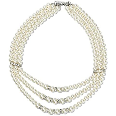 tagoo Mujer Fashion 3hebras de perlas collar con colgante