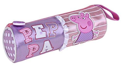 Peppa PIg-Estuche escolar, diseño cilíndrico, color rosa, diseño de Peppa PIg