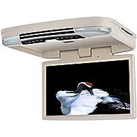 Reproductor de DVD de techo con pantalla IPS de 15,6 pulgadas HD 1080p desmontable para coche, reproductor multimedia para coche con control de mando gamepad, dos luces led de interior; soporta juegos por USB, SD y HDMI
