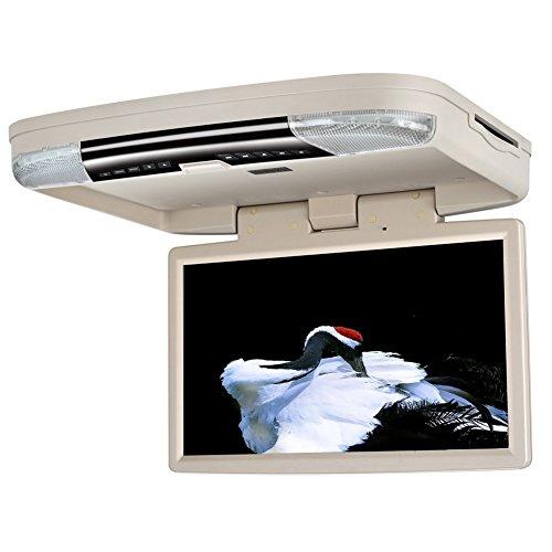 DDAUTO DD1556W 15,6-Zoll-Flip-Down-Monitor DVD-Player 1080P HD-Bildschirm Auto Dachmontage Overhead DVD-Player, HDMI, USB, Spiele, Tür LED, IR-Sender, Beige (Usb-tür)