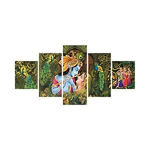 eCraftIndia 'Radha Krishna' Painting (Canvas Print, 127 cm x 60.96 cm, Set of 5, CPGKB59056)