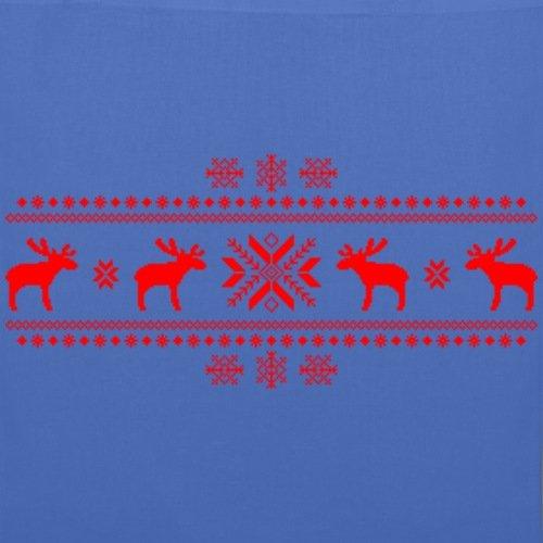 Spreadshirt Norwegermuster Rentiere Stoffbeutel Hellblau