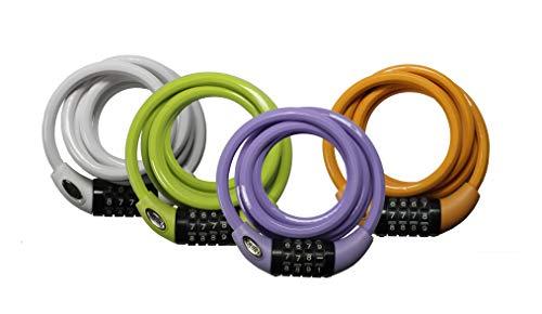 Squire Quad Pack 216Pastel 4Unidades Cable Locks, Cal/Blanco/Tangerine/Lila, 1800mm, Multi, 1800...