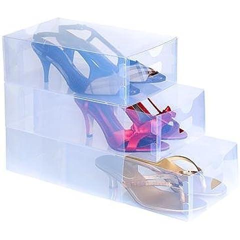 Set 5pz contenitore organizzatore scarpe trasparent box organizza scatola scarpe colore trasparente