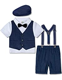 Size:1-5 Years White Shirt with Bowtie Waistcoat Pants Hat 4pcs Set mintgreen Baby Boy Outfits Gentleman Suit