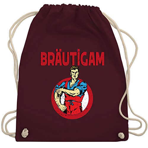 Sport Kostüm Gruppe - JGA Junggesellenabschied - Bräutigam JGA Comicfigur - Unisize - Bordeauxrot - WM110 - Turnbeutel & Gym Bag