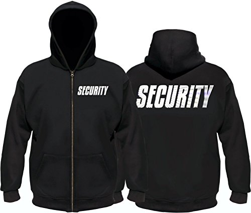 SECURITY - Sweatshirtjacke mit Kapuze - reflektierende Folie schwarz Gr.5XL