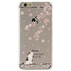 Cover iPhone 6, TrendyBox Cute Case Cover per iPhone 6 + 0.3mm Vetro Temperato Pellicola Protettiva + Gufo Cinghia Telefono (Fiori Di Ciliegio e Gatto Bianco)