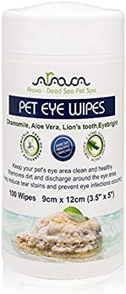 Arava Pet Eye Wipes - for Dogs Cats Puppies & Kittens - 100 Count - Natural and Aromatherapy Medicated - Removes Dirt Crust