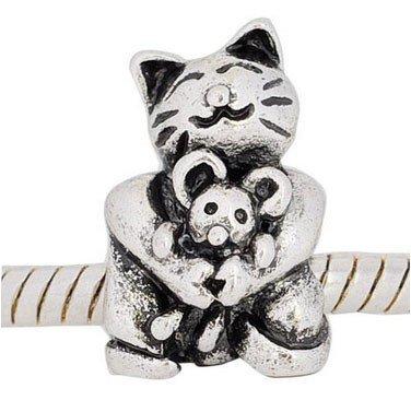 Andante-Stones Silber Bead Katz und Maus Element Kugel für European Beads Modul Armband + - Nemo Kostüm Schmuck