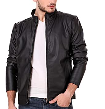 Leather Retail Classy Look Plain Faux Leather Jacket-XS Black