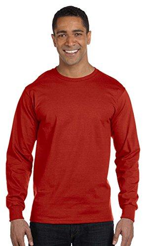 Hanes Mens Long-Sleeve Crewneck Beefy T-Shirt Sand