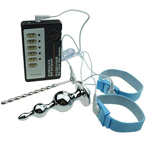 Kinxor E-Stim Accessori Anelli elettro conduttivi Regolabili Anello per Fisioterapia Tappo Metallico con Cavo Stimolatore Elettrico Massaggio per Uomo