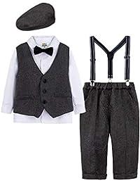 mintgreen Conjunto de Camisa Manga Larga para Bebé Niños con Chaleco+Pajarita+ Pantalones Tirantes+Boina,4 Piezas, Tamaño: 1-4 Años