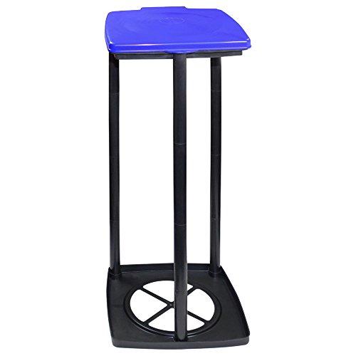 Support pour sac poubelle avec couvercle, 3 hauteurs différentes, bleu - COM-FOUR® Deckel - blau