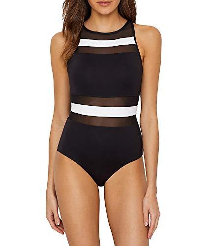 Anne Cole Damen Mesh High Neck One Piece Swimsuit Einteiliger Badeanzug, Color Block Black/White, 42 - Anne Cole Bademode