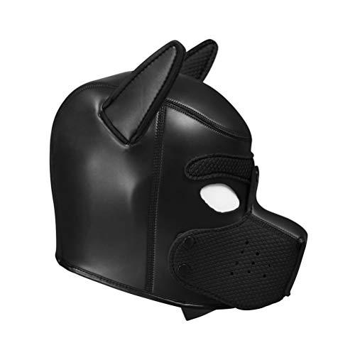 Reißverschluss Maske Kostüm - EisEyen Ledermaske mit Reißverschluss Schwarz Kostüm Cosplay Sexy Suit Maske
