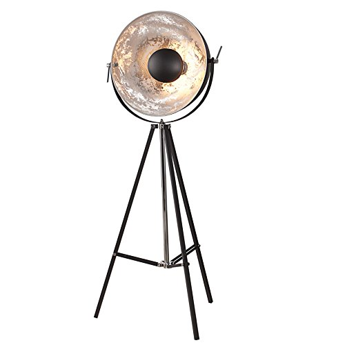 Moderne Design Stehlampe BIG STUDIO schwarz silber Lampe Blattsilber Optik 160 cm -