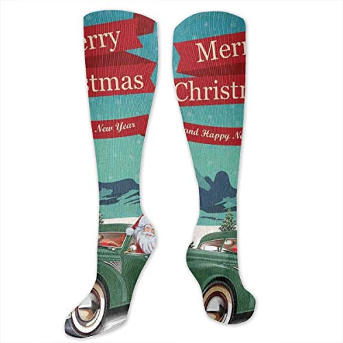 Unisex Highly Elastic Comfortable Knee High Length Tube Socks,Santa Claus In A Classic Car With Bag Of Toys Snow Winter Starry Night New Year,Compression Socks Boost Stamina,Teal Red - Winter Classic Player