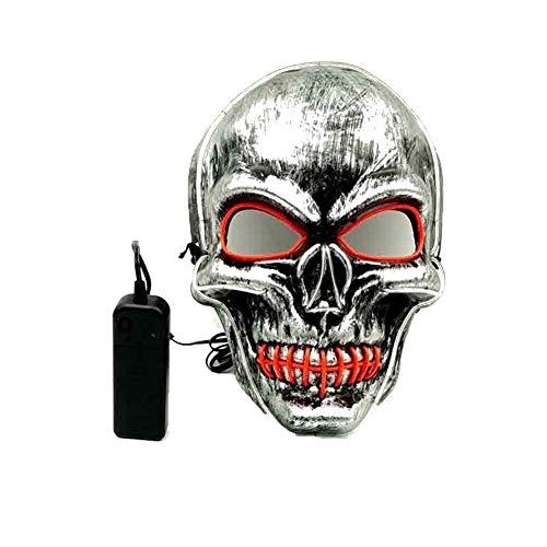 Phantasie Gesichtsmaske Halloween Cosplay Light Up Scary Death Skull Masken Halloween blinkende Karnevalsmasken für ()