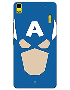 Lenovo K3 Note Cases & Covers - Captain America Face Case by myPhoneMate - Designer Printed Hard Matte Case - Protects from Scratch and Bumps & Drops.