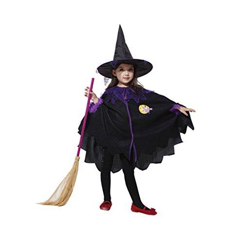 GWELL Kostüm für Kinder Halloween Weihnachten Party Cosplay Kostüm Mädchen Hexenkleid mit Hut Körpergröße (Kostüme Kinder Holloween)