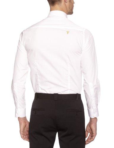 Gaspard Yurkievich - Camicia con logo, manica lunga, uomo Bianco (Blanc (Blanc/Rayures Noires))