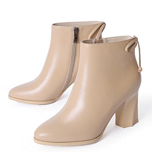 courts chunky talons bottes en hiver/ tête ronde haut talon bottes Martin/Canon court en forme de bottes/ chaussures occasionnelles B