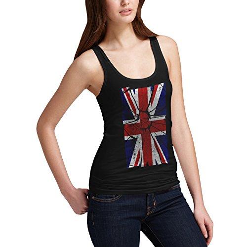 Shattered Débardeur sans manches femme Motif Union Jack UK Flag Débardeur de distorsion Noir - Noir