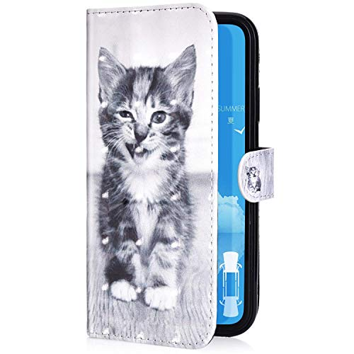Uposao Kompatibel mit Samsung Galaxy J6 Plus 2018 Handyhülle Leder Tasche Bling Glitzer 3D Effekt Glänzend Muster Hülle Flip Wallet Case Brieftasche Klapphülle Ständer Kartenfach,Katze