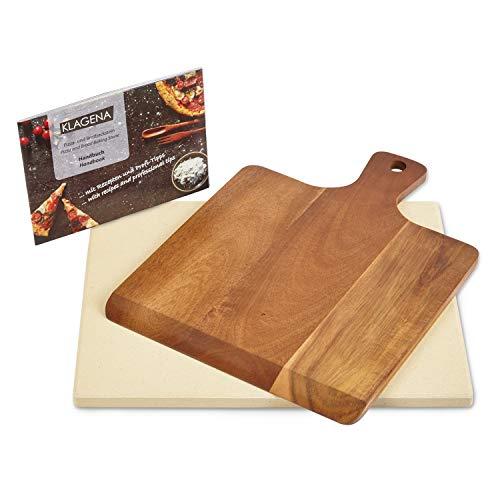 KLAGENA AS-626 Set Pietra refrattaria per Pizza, per Forno e Barbecue, incl. Pietra refrattaria e Pala per Pizza in Legno d'Acacia di Alta qualità, Set Pietra refrattaria per Pane in Cordierite,