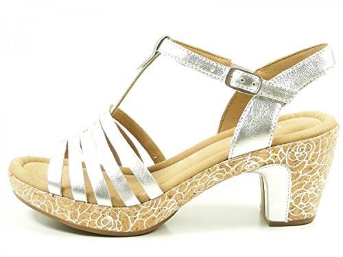 Gabor Damenschuhe 62.733.68 Damen Sandalen, Sandaletten, Mehrweite Silber