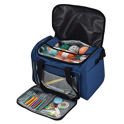 tricktasche, tragbare leichte Reise Garn Lagerung Einkaufstasche Häkeln liefert Organizer & WIP Projekt Halter für Häkelnadeln & Stricknadeln Kit ()